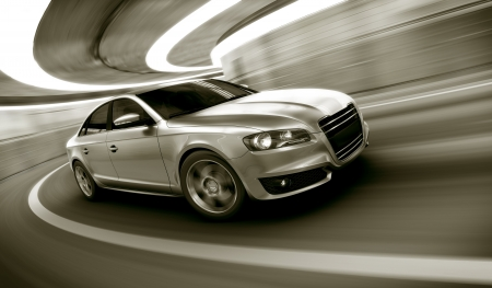 私自身のデザインの重い運動とトンネル brandless 汎用車の 3 d レンダリングのぼかし
