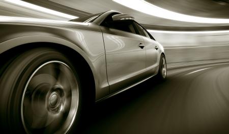 conduciendo: Representaci�n 3D de un coche brandless gen�rica de mi propio dise�o en un t�nel con el desenfoque de movimiento pesado Foto de archivo