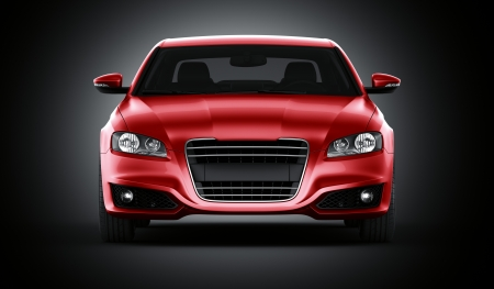 car front: 3d rendering of a brandless generic red car of my own design in studio environemnt Stock Photo