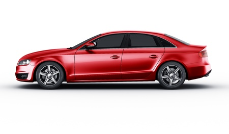 sedan: 3d rendering of a brandless generic red car of my own design in studio environemnt Stock Photo