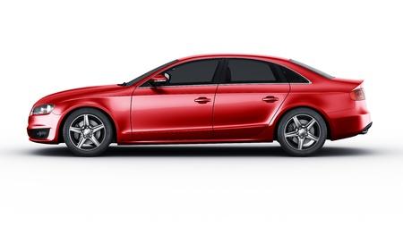 3D-rendering van een merkloze generieke rode auto van mijn eigen ontwerp in de studio environemnt Stockfoto