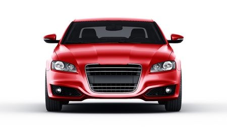 3d rendering of a brandless generic red car of my own design in studio environemnt Stock Photo