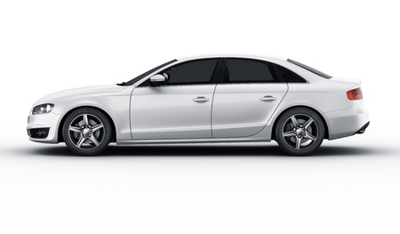 sedan: 3d rendering of a brandless generic white car of my own design in a studio environemnt Stock Photo