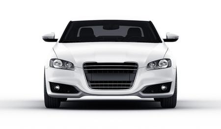 私の自身のデザイン スタジオの環境での brandless 一般的な白い車の 3 d レンダリング 写真素材
