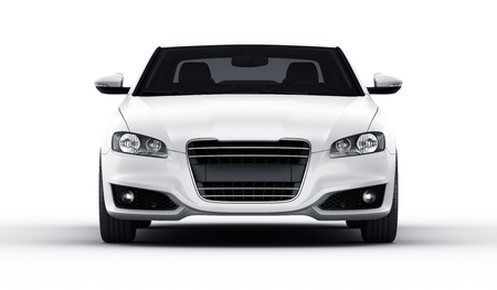 3d rendering of a brandless generic white car of my own design in a studio environemnt Stock Photo