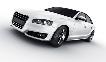 3d rendering of a brandless generic white car of my own design in a studio environemnt Standard-Bild