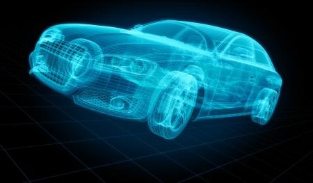 cgi: 3d rendering of a brandless generic car of my own design.