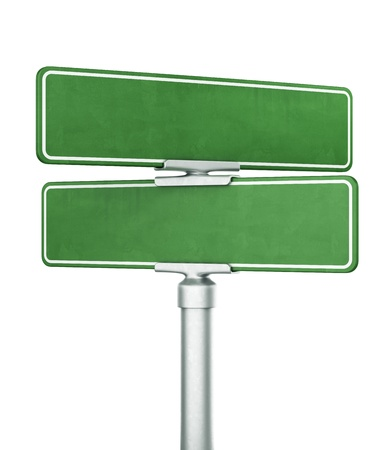 eachother: 3d rendering of two blank signs stacked ontop of eachother Stock Photo