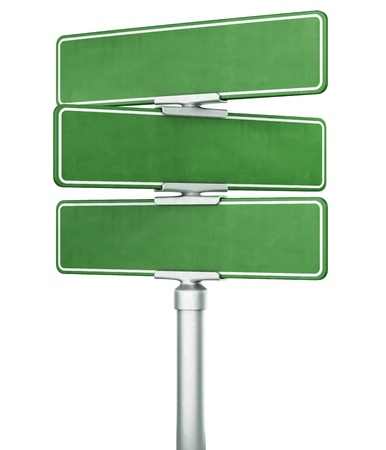 sign post: 3d rendering of three blank signs stacked ontop of eachother Stock Photo