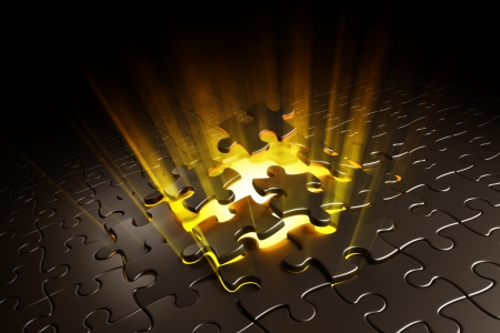 to break through: 3d rendering of puzzle pieces exploding with yellow volume light shining behind Stock Photo