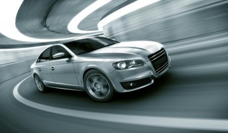 vezetés: 3d rendering egy brandless általános autó saját design egy alagútban nagy motion blur