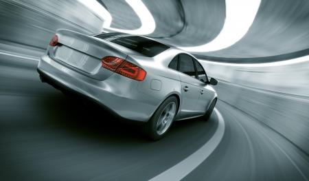 重い動きとトンネルを自分のデザインの brandless 汎用車の 3 d レンダリングのぼかし