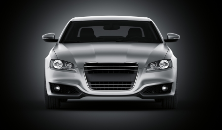 generic: 3d rendering of a brandless generic silver car of my own design in a studio environment