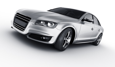luxury car: 3d rendering of a brandless generic silver car of my own design in a studio environment