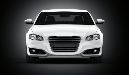 car front: 3d rendering of a brandless generic white car of my own design in a studio environemnt Stock Photo