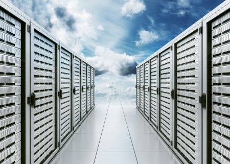 3d rendering of computer server in the clouds symbolizing