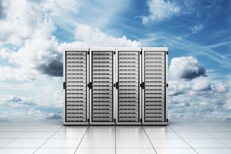 """centro de computo: Representación 3D de servidor informático en las nubes que simboliza """"cloud computing"""""""