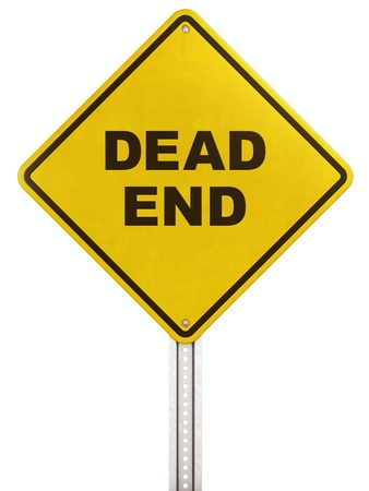 end of road: 3d rendering of a yellow traffic sign with Dead end written on it.