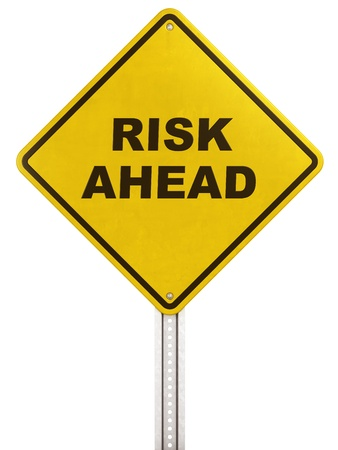 risk ahead: 3d rendering of a yellow traffic sign with Risk ahead written on it.