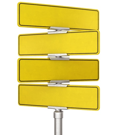 3d rendering of blank yellow traffic signs photo