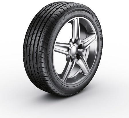 tire: 3d rendering of a single car tire on a white background Stock Photo