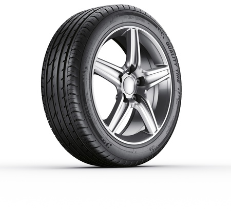 3d rendering of a single car tire on a white background photo
