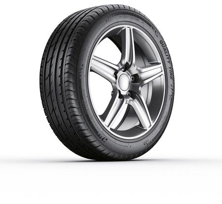 neumaticos: Representación 3D de un neumático de automóvil único en un fondo blanco