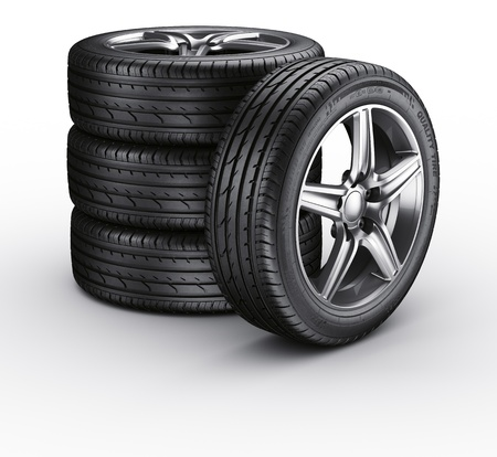 3d rendering of a 4 car tires on a white background photo
