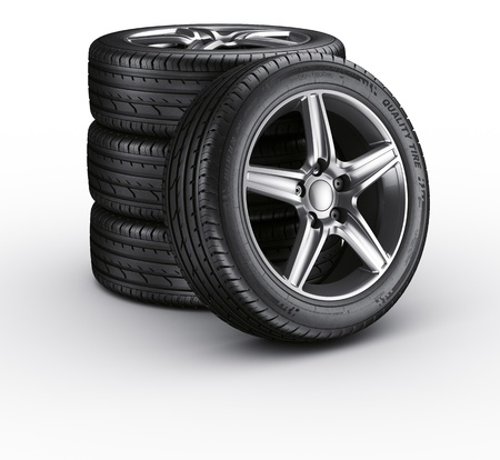 tire: 3d rendering of a 4 car tires on a white background