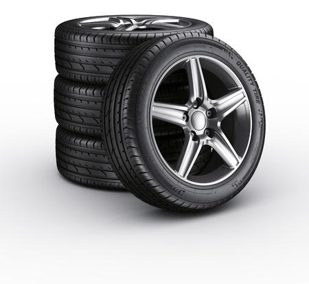 4 wheel: Representaci�n 3D de un 4 neum�ticos del coche sobre un fondo blanco