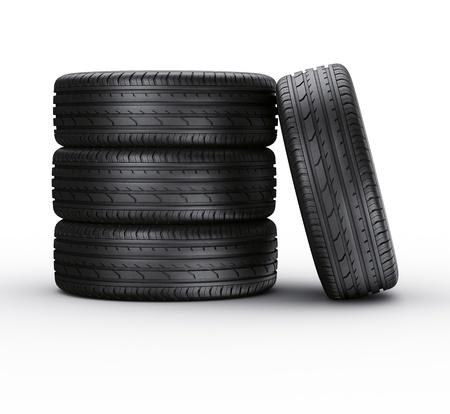 4 wheel: Representaci�n 3D de un 4 neum�ticos del coche en un fondo blanco Foto de archivo