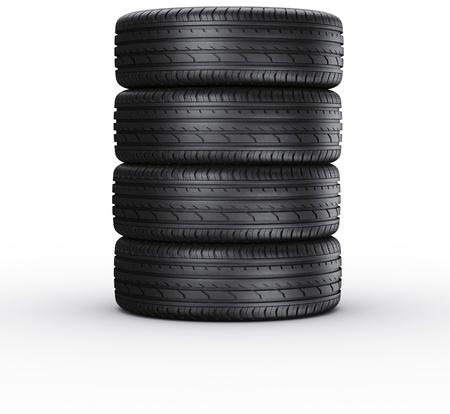 白い背景の上の 4 車のタイヤの 3 d レンダリング