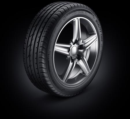 neumaticos: Representación 3D de un neumático de automóvil único sobre un fondo negro Foto de archivo