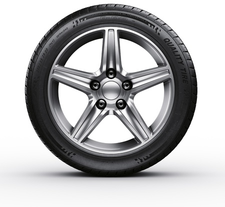 rims: 3d rendering of a single car tire on a white background Stock Photo