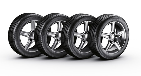 alloy wheel: 3d rendering of a 4 car tires on a white background