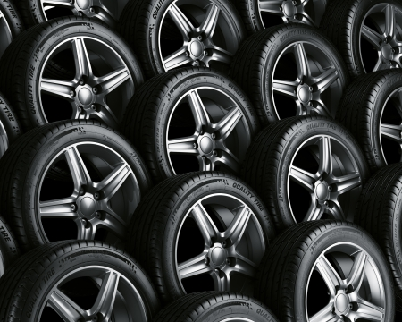 3d rendering of a car tires photo