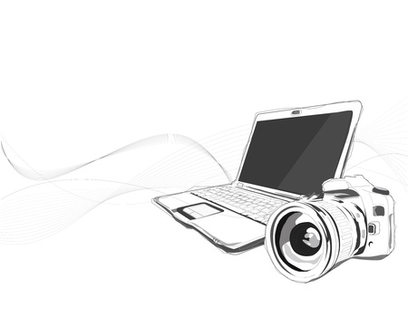 Notebook and Camera vector