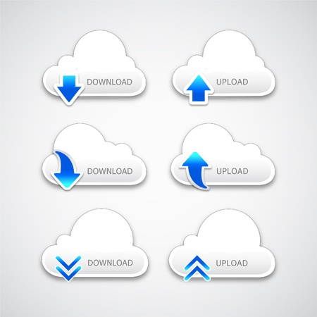 upload download cloud button Illustration