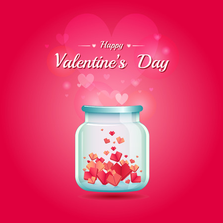 Happy Valentines Day with jar of paper hearts