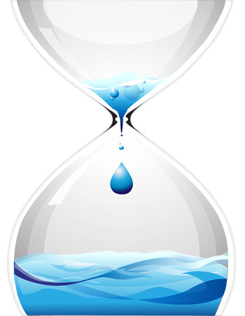 Hourglass with dripping water Illustration