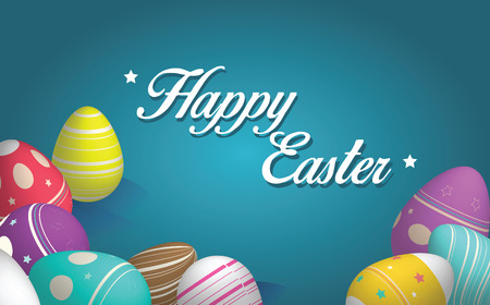 Happy easter card and banner with colorful easter eggs
