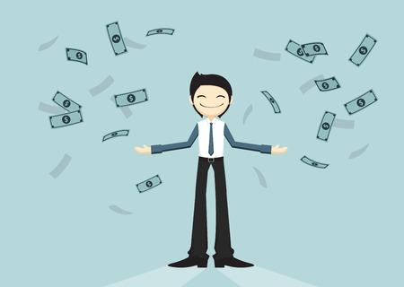 amount: Happy business man got huge amount of money