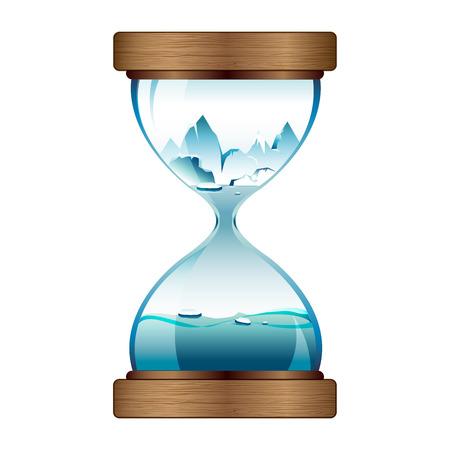 melting ice: El derretimiento del hielo en el reloj de arena Vectores