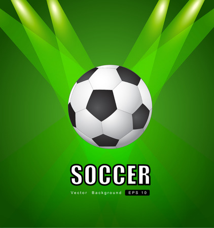 Soccer ball with spotlights on green background Illustration