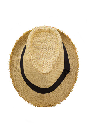 Top view of antique straw hat on white background  Banco de Imagens