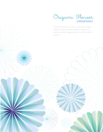 Blue Origami Flower Background Illustration
