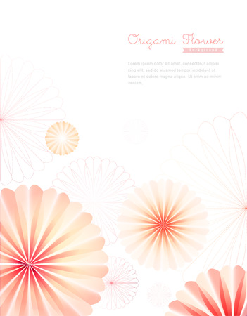 Pink Origami Flower Background Illustration