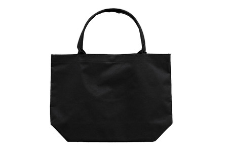 Black fabric bag isolated on white background with clipping path