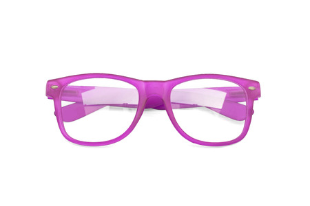 black rimmed: Violet glasses isolated on white background