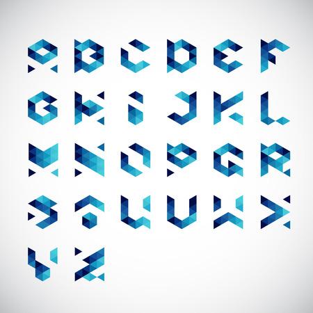 現代抽象的なカラフルなアルファベット幾何学的なスタイル  イラスト・ベクター素材